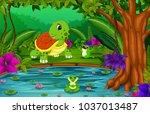 vector illustration of turtle... | Shutterstock .eps vector #1037013487