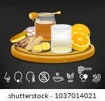 beverage that help health care. ... | Shutterstock .eps vector #1037014021