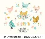 happy easter. vector set of... | Shutterstock .eps vector #1037022784