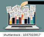 applying for job  giving cv ... | Shutterstock .eps vector #1037022817