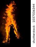 dancing around the huge ritual... | Shutterstock . vector #1037036344