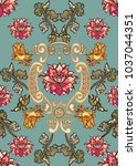 seamless pattern with vintage... | Shutterstock .eps vector #1037044351