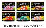set colorful food labels ...   Shutterstock .eps vector #1037048647
