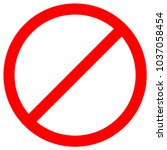 no sign empty red crossed out... | Shutterstock .eps vector #1037058454