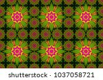 floral green  yellow and... | Shutterstock . vector #1037058721