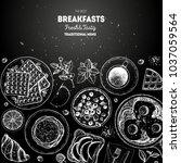 breakfast top view illustration....   Shutterstock .eps vector #1037059564