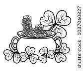 line gold coins inside cauldron ... | Shutterstock .eps vector #1037060827