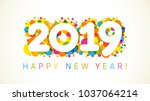 2019 a happy new year xmas... | Shutterstock .eps vector #1037064214