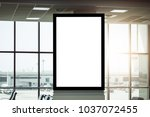 blank advertising billboard at... | Shutterstock . vector #1037072455