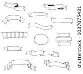 ribbons doodle set . vector... | Shutterstock .eps vector #1037075431