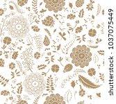 seamless pattern golden doodle... | Shutterstock .eps vector #1037075449