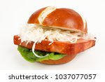 meat loaf in a pretzel roll...   Shutterstock . vector #1037077057