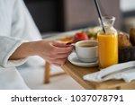 breakfast in bed  cozy hotel... | Shutterstock . vector #1037078791