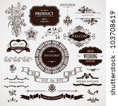vector wedding design elements... | Shutterstock .eps vector #103708619