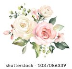 watercolor flowers. floral... | Shutterstock . vector #1037086339