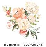 watercolor flowers. floral... | Shutterstock . vector #1037086345