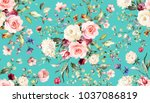 seamless pattern with spring... | Shutterstock . vector #1037086819