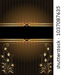 background with golden ornament ... | Shutterstock .eps vector #1037087635
