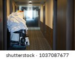 room maids trolley at a hotel   Shutterstock . vector #1037087677