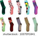 colorful socks. vector...   Shutterstock .eps vector #1037091841