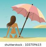 woman on the beach under... | Shutterstock .eps vector #103709615