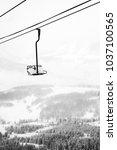 Empty Ski Lift in the Snow in Colorado
