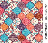 seamless colorful patchwork in... | Shutterstock .eps vector #1037100754