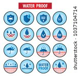 waterproof icons vector... | Shutterstock .eps vector #1037104714