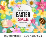 happy easter cute sale poster ... | Shutterstock .eps vector #1037107621