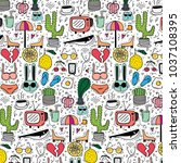 pattern with hand drawn doodle...   Shutterstock .eps vector #1037108395
