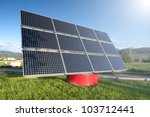 Solar Panel Station near the Highway Against The Blue Sky - stock photo