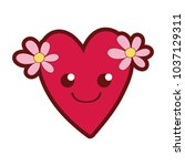 line color smile heart with...   Shutterstock .eps vector #1037129311