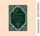 wedding invitation vector...   Shutterstock .eps vector #1037136964