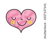 grated cute happy heart kawaii... | Shutterstock .eps vector #1037137141