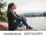 young beautiful girl on the... | Shutterstock . vector #1037141395