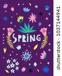 romantic spring card with a set ... | Shutterstock .eps vector #1037144941