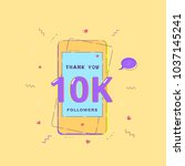 10k followers banner with phone.... | Shutterstock .eps vector #1037145241