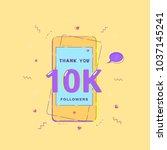 10k followers banner with phone.... | Shutterstock .eps vector #1037145241