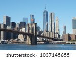 new york manhattan bridge and... | Shutterstock . vector #1037145655
