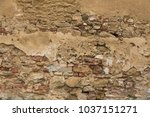 brick wall from tuscan medieval ... | Shutterstock . vector #1037151271