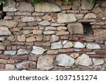 brick wall from tuscan medieval ... | Shutterstock . vector #1037151274