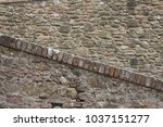 brick wall from tuscan medieval ... | Shutterstock . vector #1037151277