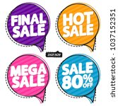 set sale speech bubble banners  ... | Shutterstock .eps vector #1037152351