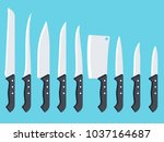 set of kitchen knives. vector... | Shutterstock .eps vector #1037164687