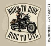 man in the motorcycle helmet... | Shutterstock .eps vector #1037165431