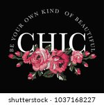 slogan graphic with embroidery | Shutterstock .eps vector #1037168227