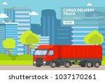truck freight transportation...   Shutterstock .eps vector #1037170261