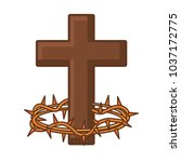 catholic cross and crown of... | Shutterstock .eps vector #1037172775