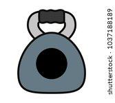 kettlebell icon over white... | Shutterstock .eps vector #1037188189