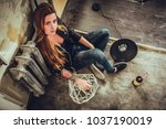 hipster punk sexy girl in old... | Shutterstock . vector #1037190019